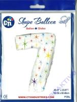 Multi-colored Sparkles Folienballon 7 106cm