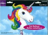 Folienballon Buntes Einhorn 83x73cm