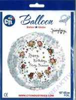 Folienballon Happy Birthday Fairy Princess 45cm