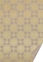 Naturkarton 50x70 220g Ornament gold glänzend