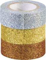 Glitter Tapes 3er gold silber kupfer