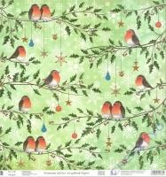 Premium Glitter Scrapbook paper Christmas robin 312