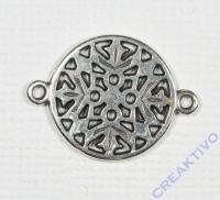 Metall-Zierelement Ornament rund silber