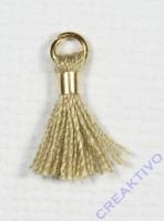 Mini-Quaste mit Öse beige/gold