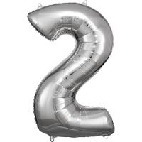 Folien-Ballon 2 silber 86cm