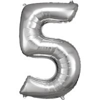 Folien-Ballon 5 silber 86cm