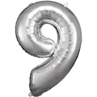 Folien-Ballon 9 silber 86cm