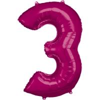 Folien-Ballon 3 pink 86cm