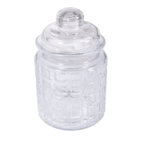 Glas Gefäß mit Glasdeckel Karos, 8cm ø