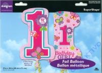 Folienballon - Zahl 1 - Geburtstag Mädchen 48cm x 71cm