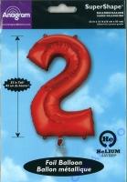 Folien-Ballon 2 rot 86cm