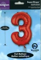 Folien-Ballon 3 rot 86cm