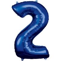 Folien-Ballon 2 blau 86cm