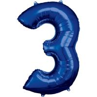 Folien-Ballon 3 blau 86cm