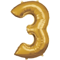 Folien-Ballon 3 gold 86cm