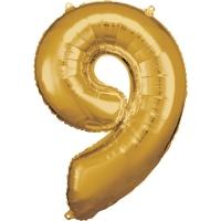 Folien-Ballon 9 gold 86cm