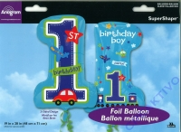 Folienballon - Zahl 1 - Geburtstag Junge 48cm x 71cm