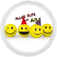 Folienballon Alles Gute zum ABI (Smileys)