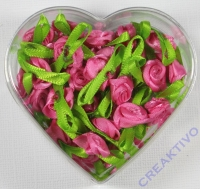 Stoffrose mit Schleife - pink