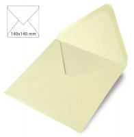 5 Kuverts quadratisch perlmutt 140x140mm 120g elfenbein (Restbestand)