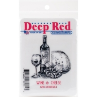 Deep Red Clingstamps - Wine & CHeese