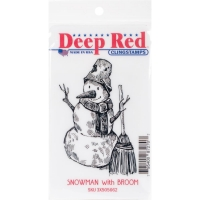 Deep Red Clingstamps - Snowman with broom
