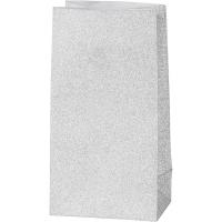 Glitzerpapiertüten für Tütenstern 8 Stück silber