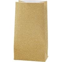 Glitzerpapiertüten für Tütenstern 8 Stück gold