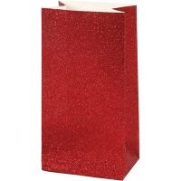 Glitzerpapiertüten für Tütenstern 8 Stück rot
