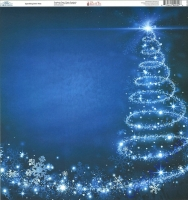 Ella & Viv Blue Christmas Single-Sided Cardstock 12X12 - Sparkling Swirl Tree
