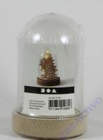 Plastikglas Glocke auf Holzfuß, H 12,5 cm, D: 8 cm