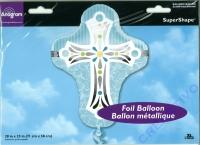 Folienballon - Ø 71cm - Religionskreuz hellblau