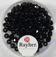Glas-Schliffperlen, 4 mm ø schwarz (nicht irisierend)