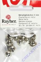 Rayher Metallglöckchen kugelförmig 9mm platin 10 Stück