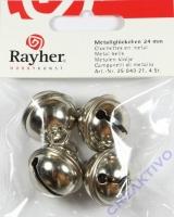 Rayher Metallglöckchen kugelförmig 24mm platin 4 Stück