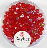 Glas-Schliffperlen, 4 mm ø irisierend rubin