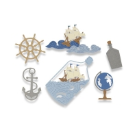 Sizzix Thinlits Die Set 7PK - Ship in a Bottle