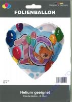 Folienherz 10. Geburtstag Teddybär