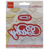 Marianne Design Creatables Dies - Baby Text & Safety Pin, 4X2 & 1.5X.5