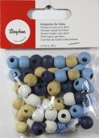 Holzperlen für Deko, 9mm ø, h.blau d.blau weiß beige