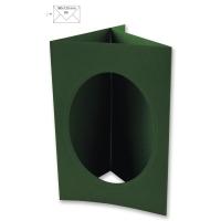 Passepartout-Karte B6 oval piniengrün (Restbestand)