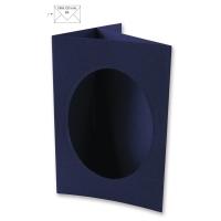 Passepartout-Karte B6 oval nachtblau (Restbestand)