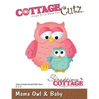 CottageCutz Die - Mama Owl & Baby 2X2