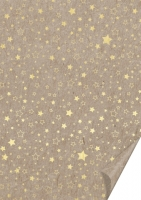 Naturkarton 50 x 70cm Sterne gold