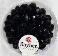 Glas-Schliffperlen, 6 mm ø schwarz (nicht irisierend)