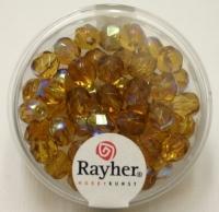 Glas-Schliffperlen, 6 mm ø irisierend topas
