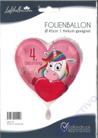 Folienballon Einhorn 4. Geburtstag
