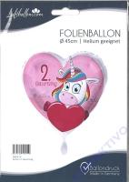 Folienballon Einhorn 2. Geburtstag
