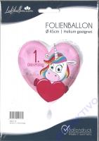Folienballon Einhorn 1. Geburtstag