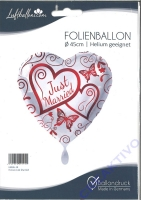 Folienballon Just married rot/weiß